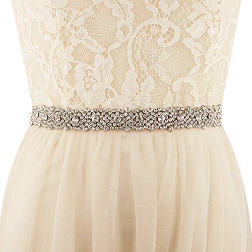 Azaleas Women's Crystal Bridal Sash Belt Thin Wedding Belts Sash with Crystal for Wedding Dress (Black)
