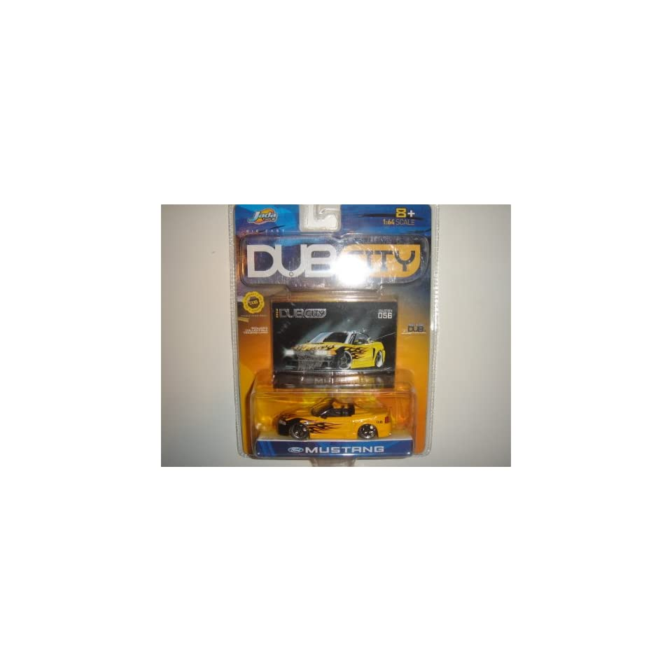 2003 Jada Dub City 164 Scale Ford Mustang Convertible Yellow/Black Flames #056