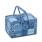 Hobby Gift 'Patchwork Denim' Large Twin Lid Rectangle Sewing Box 18 x 31 x 21cm (d/w/h)