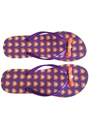 Heart Orange Flip Purple Tigers Clemson NCAA Women's Flops 7BnO55qRxw