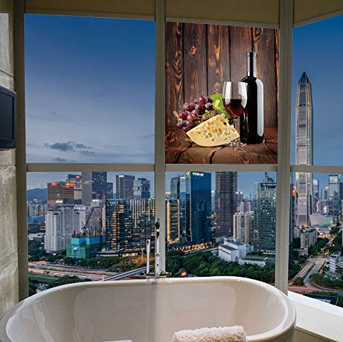 TecBillion Vinyl Window Film,Wine,Work Well in The Bathroom,Red Wine Cabernet Bottle and Glass Cheese and,17''x24''