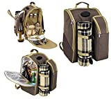 Bravo Enterprise 2 Person Picnic Backpack.with insulated cooler storage compartments. Accessories and blanket included