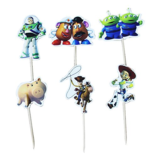 Betop House Set of 24 Pieces Toy Story Themed Decorative Cupcake Topper for Kids Birthday Party Baby Shower by BETOP HOUSE
