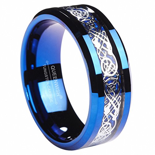 8MM Blue Tungsten Carbide Ring Celtic Dragon Blue Carbon Fibre Inlay Mens Wedding Band Size 13.5