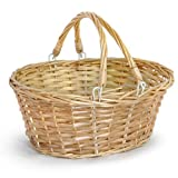 The Lucky Clover Trading 9833 Lucy Small Split Willow Shopper with Swing Handles Basket, Natural