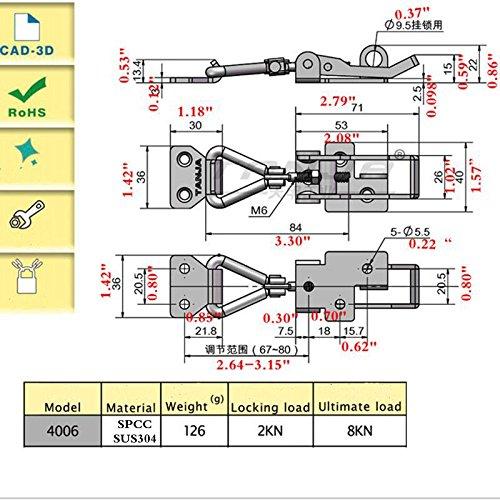 HomDSim Adjustable Buckle Vehicle Mechanical Adjustable Snap Fastener Hardware Accessories Padlocks Hasps Buckle (10PCS, Stainless Steel)
