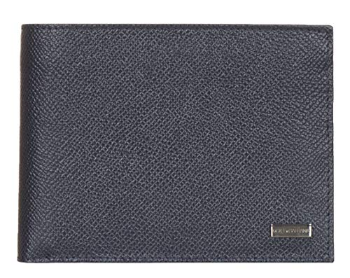 Dolce & Gabbana Dark Blue Pebbled Leather Logo Plaque Bee Print Bi Fold ()