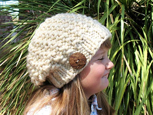 Buttoned Tan Slouchy Hat Hand Knitted Children's Ladies Hat Made in USA Free Shipping