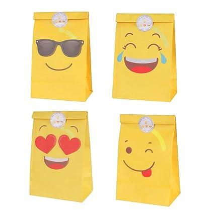 DISOK Lote de 12 Bolsas de Regalo Infantiles para Niños EMOTICONOS con Cierre Adhesivo Pegatina 22 x 12 cm - Bolsas Originales de Papel para ...