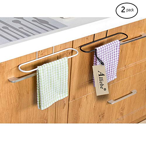 Alliebe 2pcs Towel Rack Hanging Holder for Organizer Bathroom Kitchen Cabinet Cupboard Hanger Over Door(White and Black)