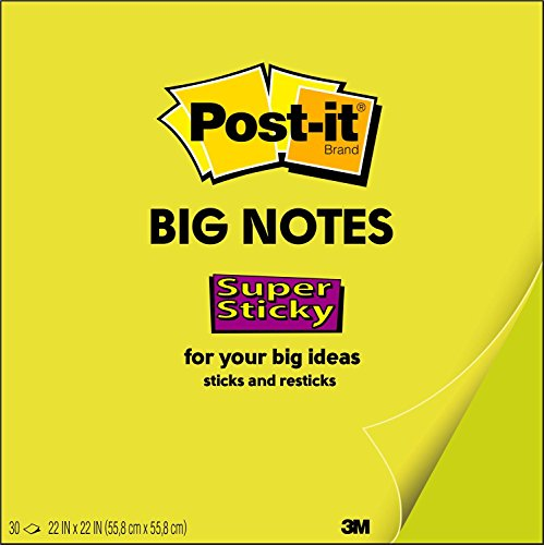 Post-it Super Sticky Big Notes, 22 x 22 Inches, 30 Sheets/Pad, 1 Pad (BN22), Large Neon Green Paper, Super Sticking Power, Sticks and Resticks