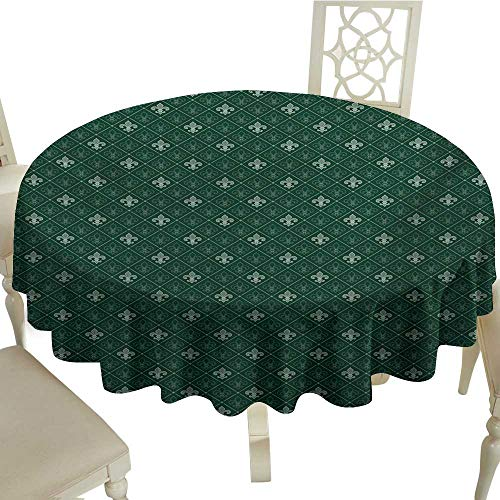 Cranekey Banquet Round Tablecloth 50 Inch Fleur De Lis,Ancient Baroque Pattern Medieval French Motifs Royal Ornate Classic,Hunter and Sage Green Great for,Holiday Dinner & More ()