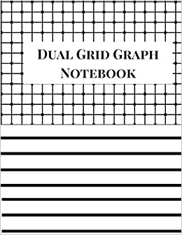 dual grid graph notebook 4x4 half lined half graph paper notebook