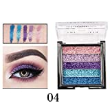 Hennta Sexy Shimmer Glitter 5-Color Eye Shadow Powder Palette Matte Glitter Eyeshadow Cosmetic Makeup Disc Waterproof Sweat-Proof Long Lasting Pigmented (7cmx7cmx1.8cm)