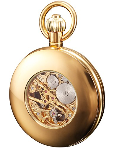 HELMASK pocket watch - Alloy Golden Round mens Analog Mechanical Hand-winding Full hunter Pocket Watch by HELMASK COLLECTION (Image #1)