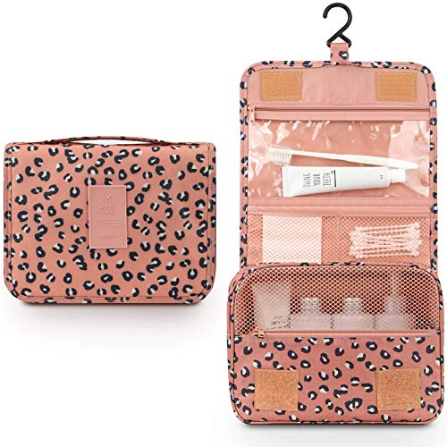 (Toiletry Bag for Women,Mossio Waterproof Big Makeup Case with Large Compartment Pink Leopard)