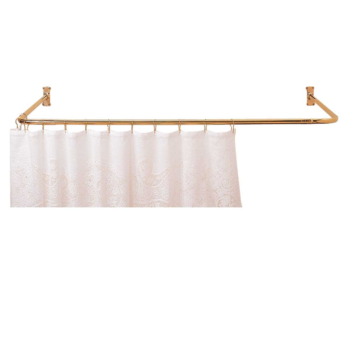 Amazon.com: Shower Curtain Rod Bright Solid Brass 3 Sided ...