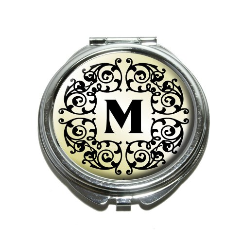 - Letter M Initial Black White Tan Compact Purse Mirror