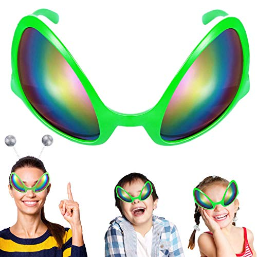 Alien Glasses Decorations Alien Costume Mask Novelty Glasses Halloween Party Photobooth Props Favors Sunglasses for Adults and Kids Gift - Rainbow Color Plastic Lens