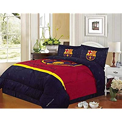 JORGE'S HOME FASHION INC Football Club Barcelona Teens Boys Original Licensed Reversible Comforter Set 4 PCS Queen Size: Home & Kitchen