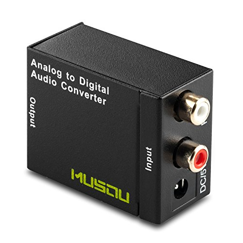 Musou RCA Analog to Digital Optical Toslink Coaxial Audio Converter Adapter with Optical Cable (Optical Rca Cable To)