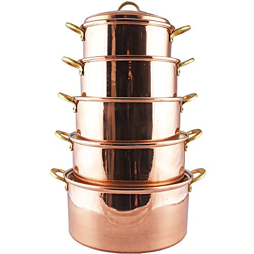 Copper Cookware Set of 5 Casseroles, 8.70 inches to 11.80 inches, Thick Copper Pot, Pan, Casserole Dish, Pot, Copperware, Chef, Healthiest Cooking, Skillet, Saucepan, Wok, Kitchen Set, Healthy