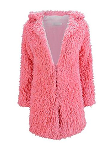 AILIENT Abrigo Mujer Chaquetas Peludos Jacket Elegantes Coat Hipster Outwear Casuales Sweater Coat Caída Invierno Rose Red