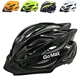 GoMax Aero Adult Safety Helmet Adjustable Road Cycling Mountain Bike Bicycle Helmet Ultralight Inner Padding Chin Protector and visor w/ Rear LED Tail Light adjust also for Kids 12+ (Black, Medium)