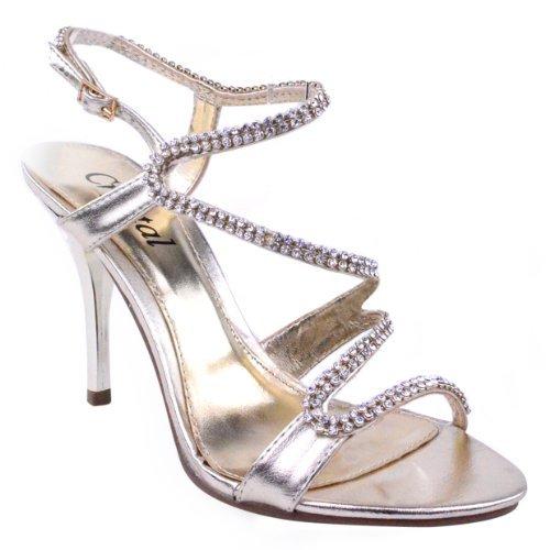 donne ballo sera Metallico Dorato sandali taglia tacchi festa alti damigella d'ONORE scarpe 7FOwpAq7c