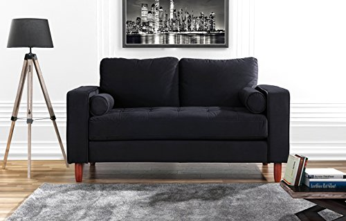 DIVANO ROMA FURNITURE Couch for Living Room, Tufted Velvet Fabric Sofa with Back Cushions, Tufted Bottom and 2 Extra Cushions (Black) ()