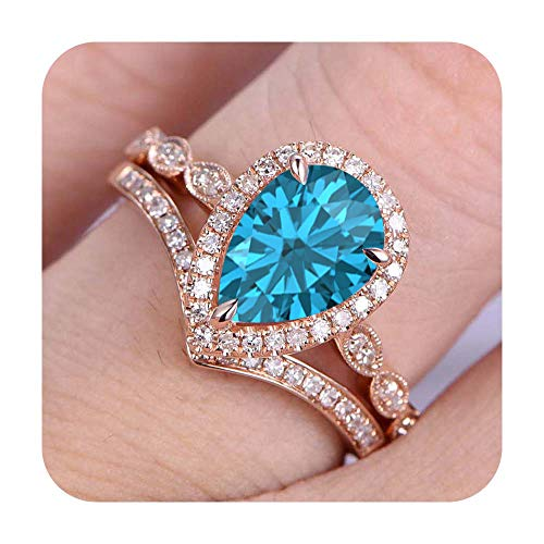 (RUDRAFASHION 7x9mm Pear Cut Created Swiss Blue Topaz & Diamond 14k Rose Gold Plated Art Deco Wedding Bridal Halo Ring Cuvred 'V' Band for Women's)