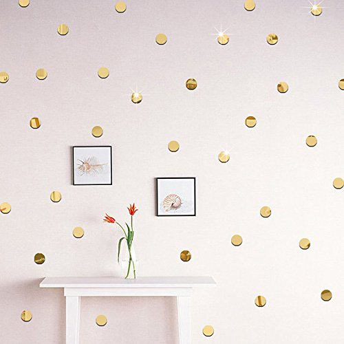 Gold Bling-Bling Dots 200pcs *2cm DIY 3D Acrylic Wall Sticker Mirror Effect Stickers Mural Children's Room Ceiling Bedroom Decor Decals adesivo de parede Home Decorations