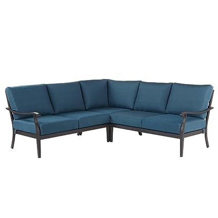 Hampton Bay Riley 3-Piece Metal Outdoor Sectional Set with Charleston  Cushions