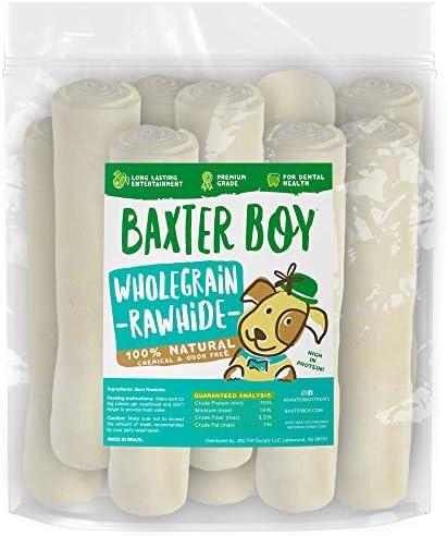 Baxter Boy Rawhides for Dogs, 8-9 Premium Dog Bones for Aggressive Chewers, Large Rawhide Chew Dog Bone, Thick Dog Chews