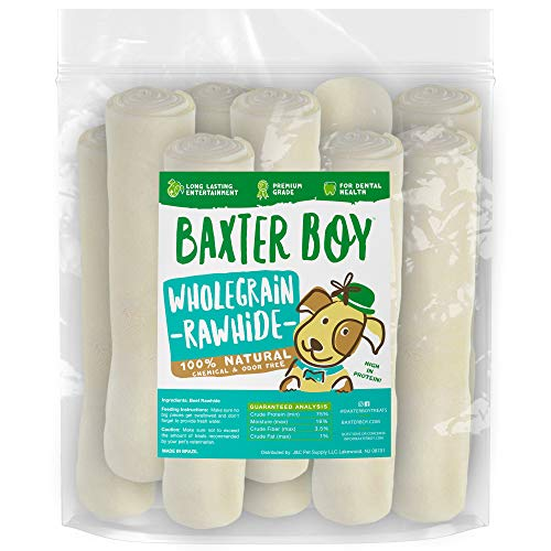 (Baxter Boy Premium Rawhide Roll for Dogs Natural Chews Extra Thick Treat - Large 8