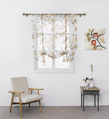 (Home Cal Bowknot Roman Curtain - Tie Up Shade for Small Window (Rod Pocket Panel, 47