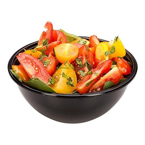 Cold Salad Bowl - PET Plastic Salad Bowl - Black - 7.4 oz - Durable & Recyclable - 200ct Box - - Bowls Ounce 7.4