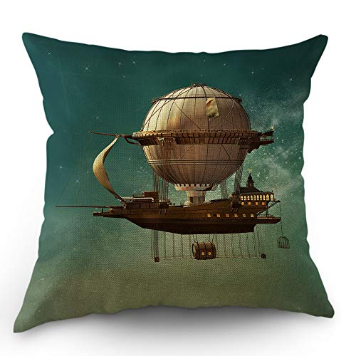 Moslion Space Pillows Decorative Throw Pillow Cover Surreal Sky Scenery with Steam Punk Airship Fairy Star Universe Pillow Case 18x18 Inch Cotton Linen Square Cushion Cover for Sofa Bed