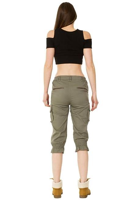 Sunset Style High Rise Stretch Combat Cargo Shorts - Dark Green:  Amazon.co.uk: Clothing