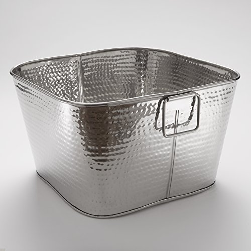 American Metalcraft STH16 Hammered Tub, Square, Stainless Steel, 9-1/2'' Height, 16-1/2'' Width, 16-1/2'' Length by American Metalcraft