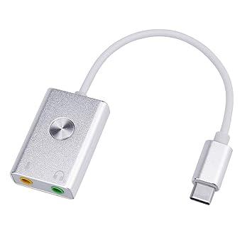 jfhrfged Adaptador de Audio Externo Auricular Tipo-C Tarjeta Audio ...