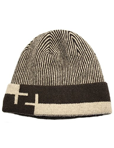 (Dahlia Men's Wool Blend Knit Beanie, Stripe & Velour Fleece Lined, Tan)
