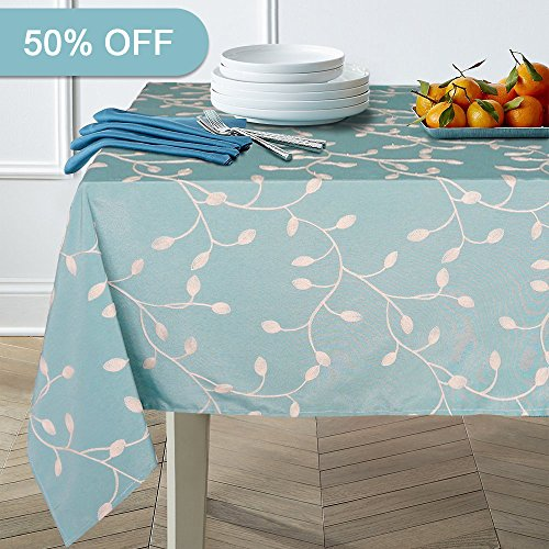 51zaTKyjbqL - Lamberia Heavyweight Cotton Floral Embroidered Tablecloth 60-Inch-by-84 Oblong/Rectangle/oval, Blue Nature Leaves, Seats 6 to 8 People