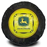 John Deere Logo Tire Shape Decorator Pillow Black and Yellow
