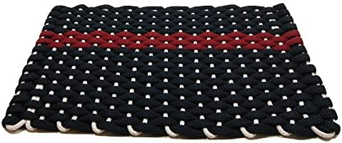 Rockport Rope Doormats 2034348 Indoor Outdoor Doormats, 20 x 34 , Navy with Red Stripe and White Insert