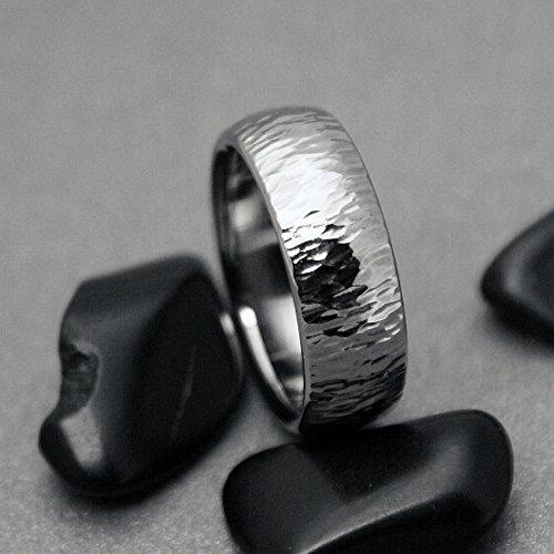 Titanium Hammered Ring,