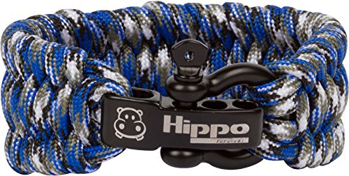 (Hippo Survival Paracord Bracelet with Black Metal Shackle and Adjustable Size  - Blue Camo)