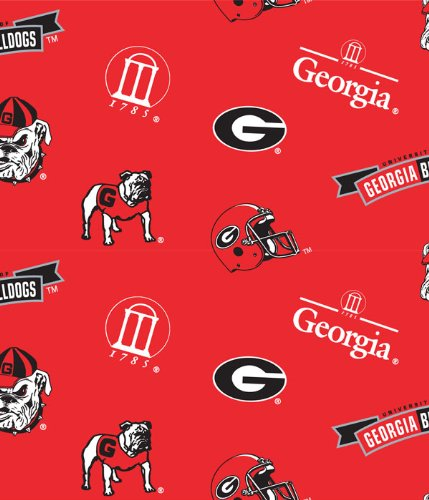 University of Georgia Bulldogs Cotton Fabric, Red & Black - Sold By the Yard