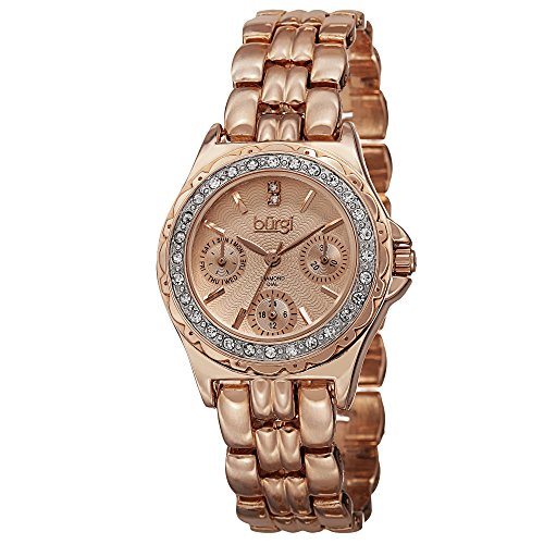 - Burgi Women's BUR117RG Diamond & Crystal Accented Guilloche Dial Rose Gold Bracelet Watch