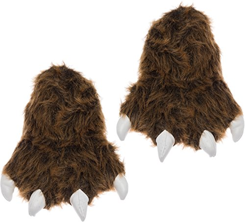 Wishpets Grizzly Bear Paw Slippers w/White Claws (Brown, Large) - Bear Paw Footwear